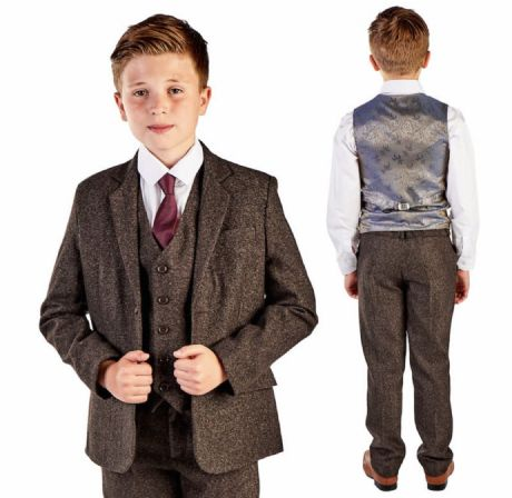 Boys Dark Brown Tweed Herringbone 5 Piece Jacket Suit